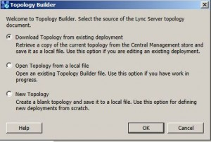 Lync 2013 Topology Builder start