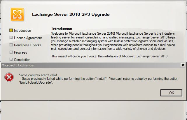 """Exchange 2010 Error applying Service Pack """"Setup previously"""