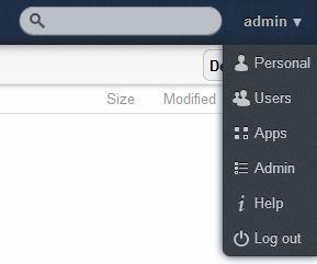 ownCloud Admin menu